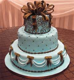 Tiffany blue square wedding cake in the shape of presents with brown