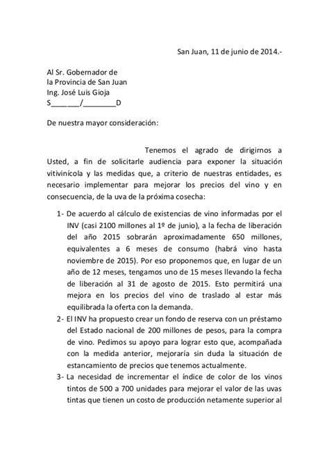 carta formal de pedido de audiencia nota pedido de audiencia gobernador gioja junio 2014