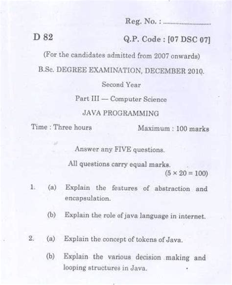 Madras Mba Question Papers With Answers Pdf by Question Papers Of Bsc Cs 3rd Semester Bharathiar