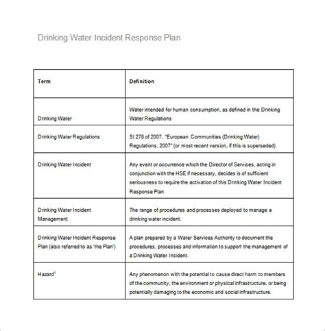 incident response plan template plan template