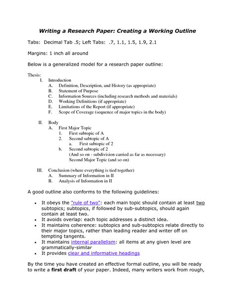 How To Make An Outline For A Research Paper Exles - outline for a research paper apa