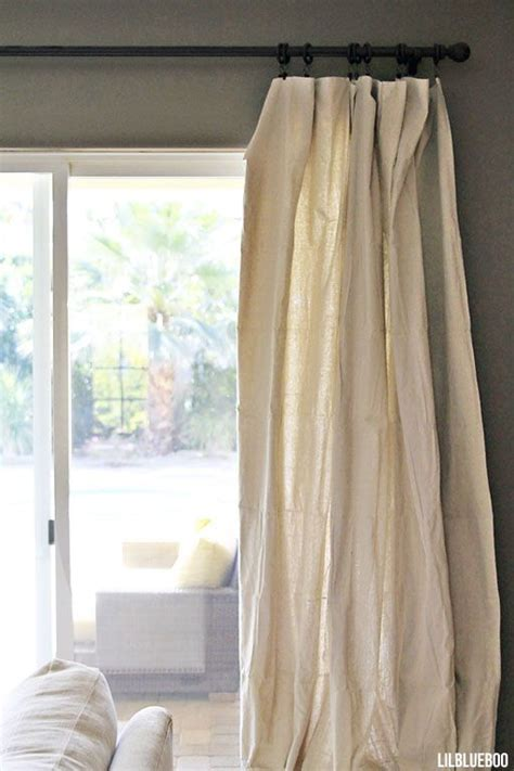 drop cloth canvas curtains diy curtains made out of painters drop cloth canvas via