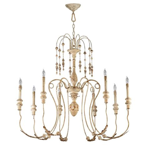 maison country antique white 8 light chandelier