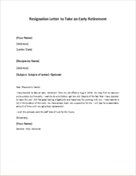 Resignation Letter Sle With Early Release Resignation Letter To Take An Early Retirement Writeletter2