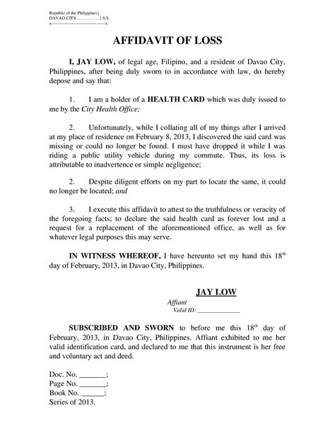 sle letter affidavit of loss docoments ojazlink