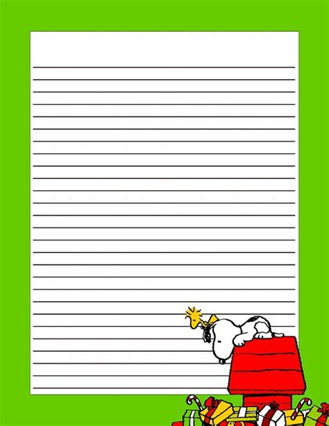 free printable lined christmas stationery paper christmas snoopy printable stationery pinterest