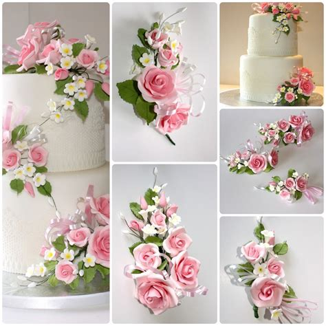Sugar Wedding Cake Flowers by Open Spray Pink S M L Sugar Flowers Cake Topper