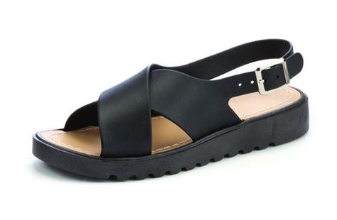 girls black sandals girls slingback cross over strap flat platform sandals