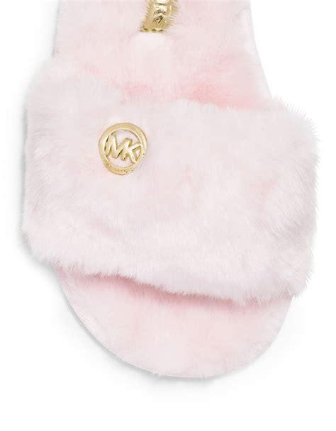 michael kors faux fur slippers michael michael kors faux fur slippers in pink lyst