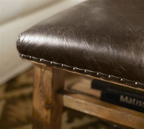 caden leather ottoman caden leather square ottoman pottery barn