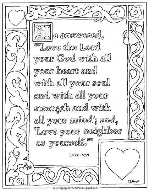 coloring pages on love from god coloring pages for kids by mr adron luke 10 27 printable