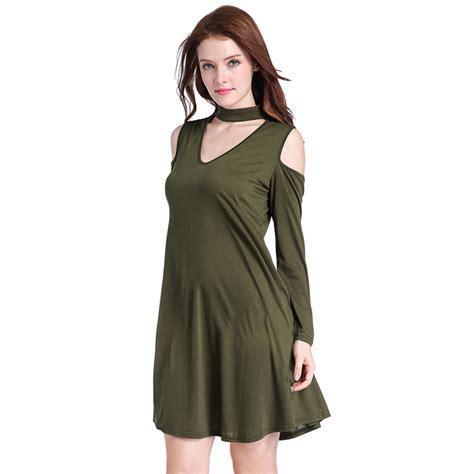 Cold Shoulder T Shirt Dress s cold shoulder sleeve choker t shirt dress n14496