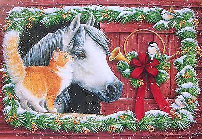 kathy goff horse chickadee bird orange white cat french horn christmas card cats yellow