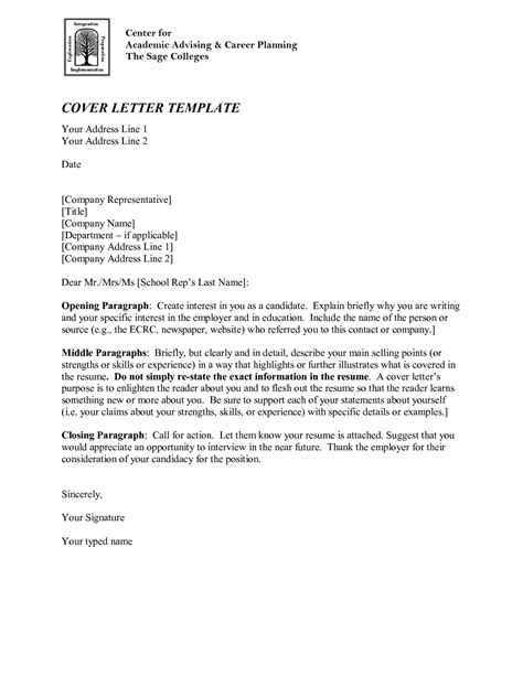 Academic Cover Letter Sample Template