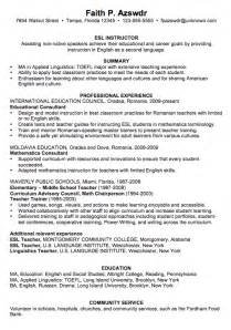 Esl Teacher Resume Sample This Resume Is A Part Of Our Growing Group Of Resume Examples All Of