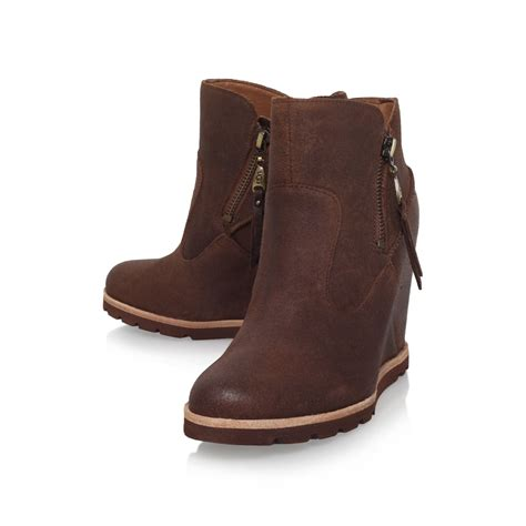 wedge boots ugg myrna wedge heel ankle boots in brown lyst