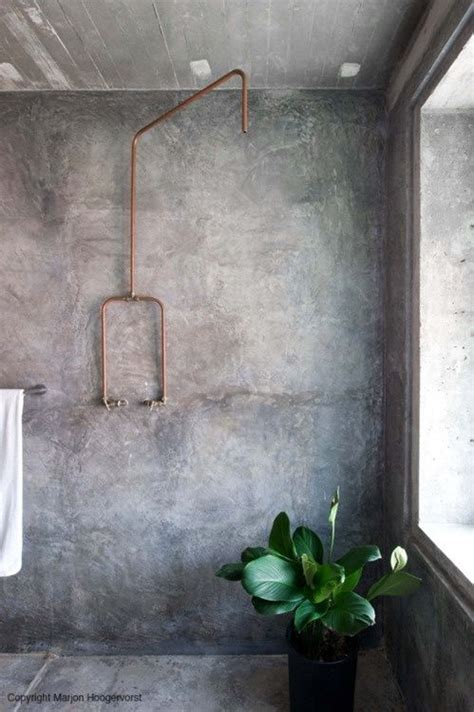 convert copper pipes from tub shower to shower terry concrete bathroom copper pipes homelylove pinterest