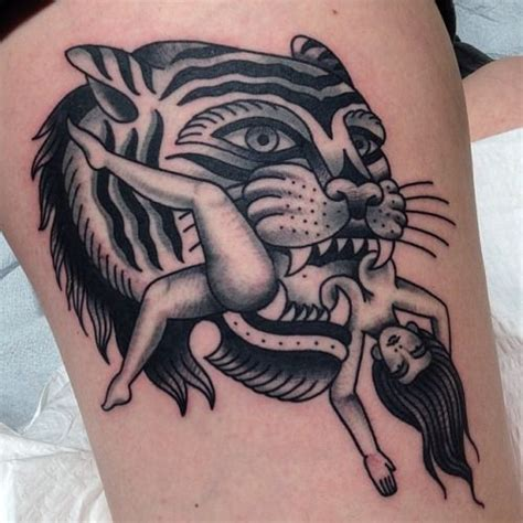 traditional tiger tattoo traditional american tiger