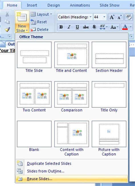 tutorial microsoft excel 2007 ppt insert slides from another presentation slide import