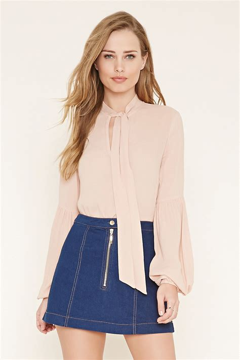 forever 21 tie neck blouse lyst