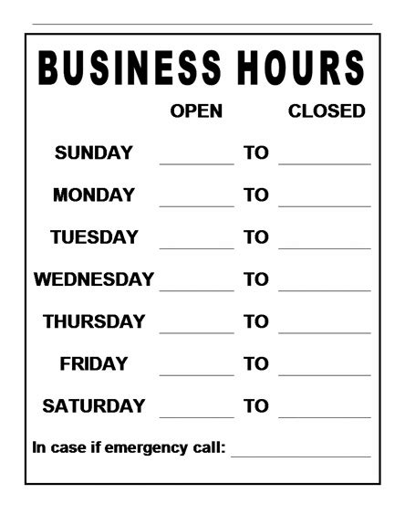 business hours sign template business hours sign template free images