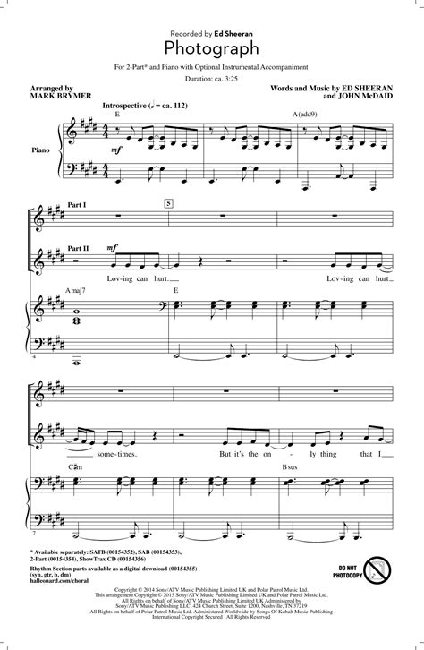 photograph arr brymer choral satb sheet by photograph arr brymer 2 part choir sheet