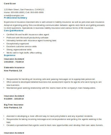 Broker Assistant Sle Resume by Sle Insurance Resume 9 Exles In Word Pdf