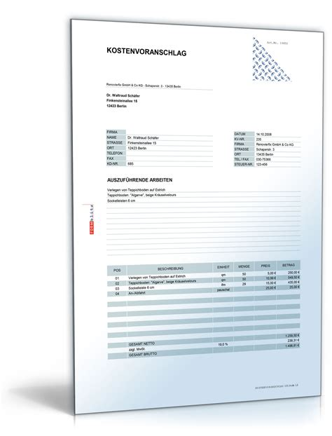 Word Vorlage Angebotsschreiben Kostenvoranschlag Angebot F 252 R Die Verlegung Bodenbel 228 De Vorlage