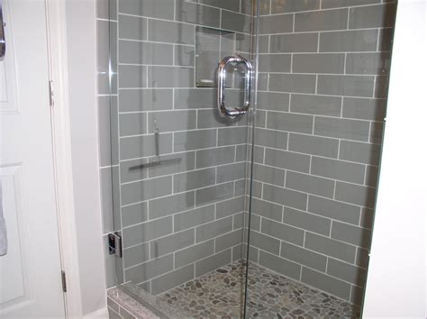subway tile in bathroom shower smoke glass 4 quot x 12 quot subway tile pebble tiles subway tiles and glass