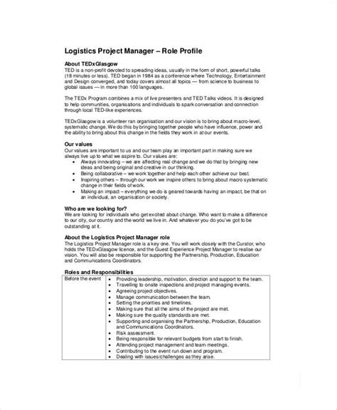Supervisor Description Sle by Logistics Description Template 28 Images Logistics