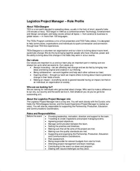 logistics description template exle of a supply chain manager cv template logistics www