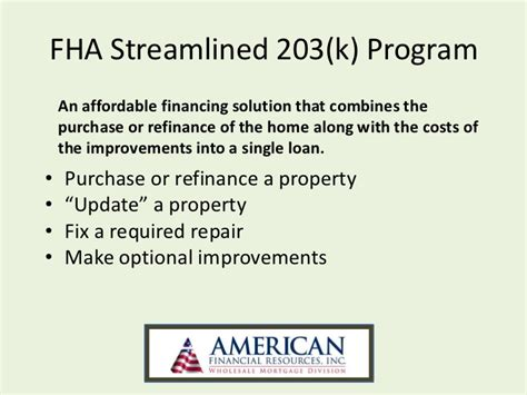 fha streamline 203 k wholesale