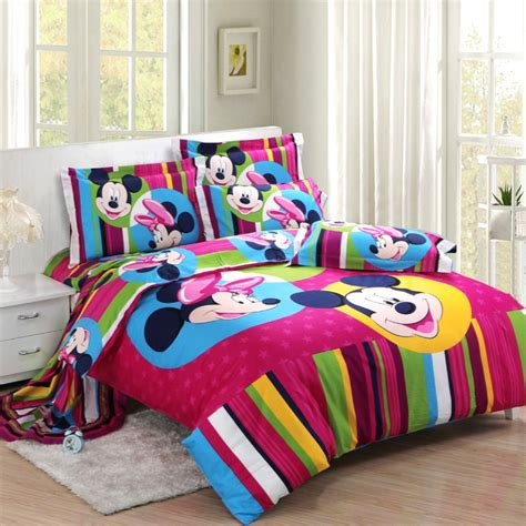 striped purple mickey and minnie mouse full size bedding