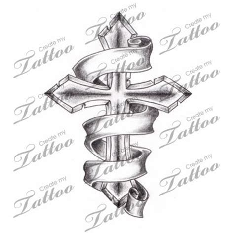 tattoos of crosses with banners marketplace shaded cross with 3 banners 2944
