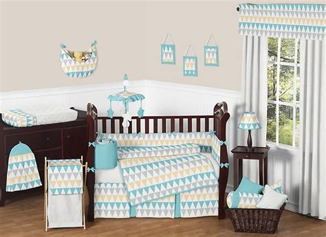 Baby Boy Crib Bedding Sets Modern Modern Turquoise White Gray Yellow Gender Neutral Baby Boy Crib Bedding Set Ebay