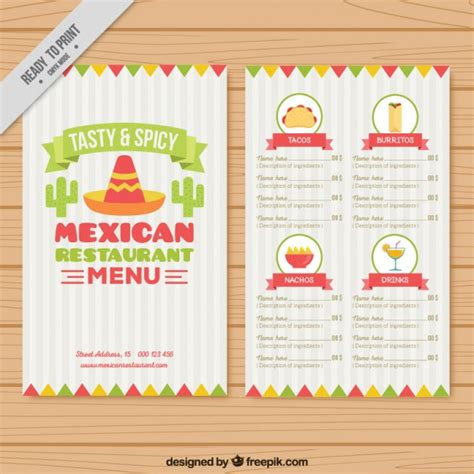 mexican restaurant menu templates menu template with mexican elements vector free