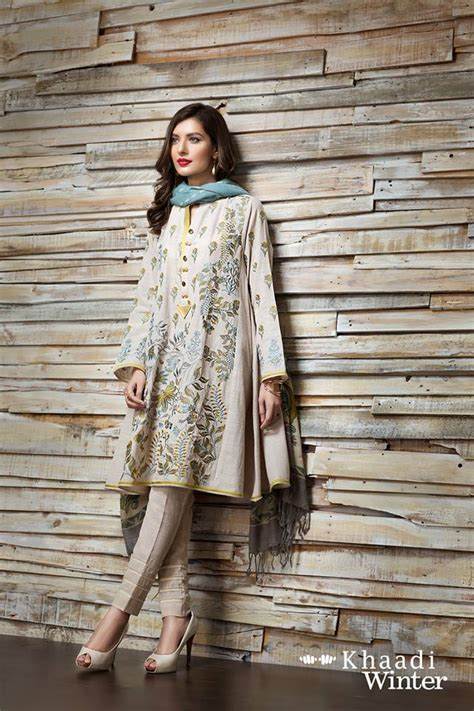 Khaadi winter dresses with shawl for fall winter 2016 17 pk vogue