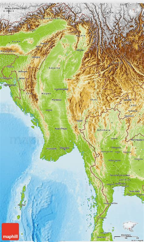 myanmar physical map physical 3d map of burma