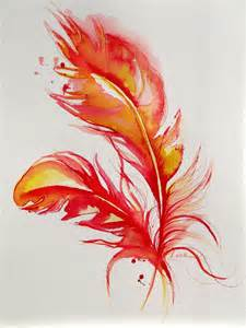 Original abstract firebird feathers watercolor painting abstract ar