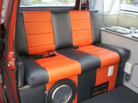 vanagon upholstery custom orange and black upholstery vanagon hacks mods