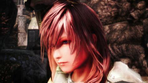 anime hairstyles skyrim final fantasy xiii s lightning reborn in a skyrim mod