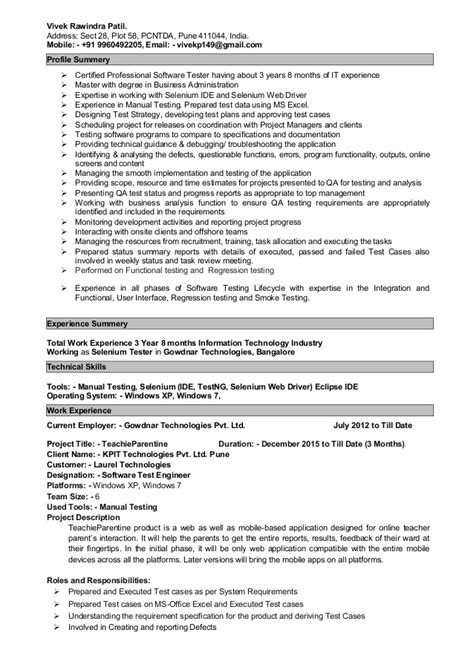 automation testing resume for 2 years in experience 28 images sle resume for experienced