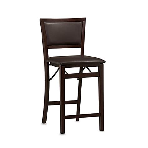 Padded Espresso 24 Inch Folding Stool buy padded espresso 24 inch folding stool from bed bath