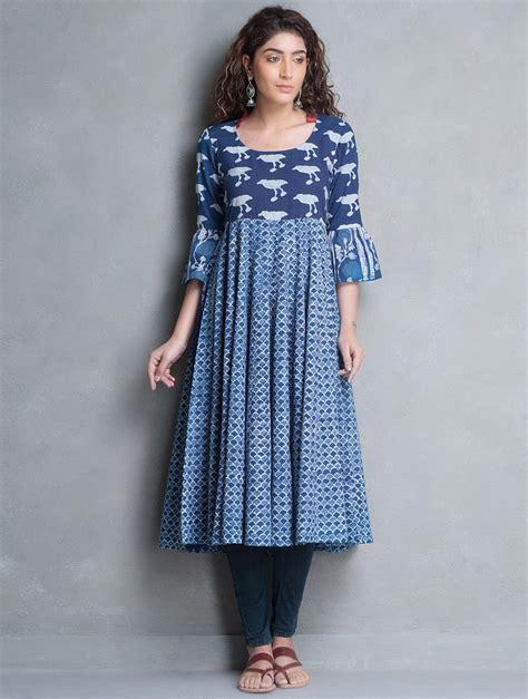 cotton printed bell sleeves long kurta salwar patterns buy indigo bagru printed kalidar cotton kurta online