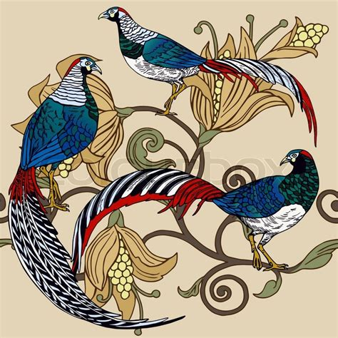 pattern bird art vintage antique background fashion seamless pattern with