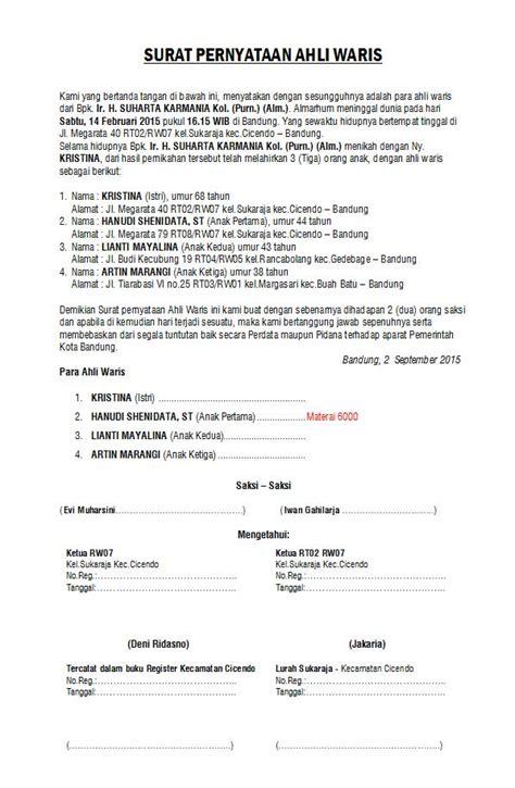 format surat pernyataan ahli waris membuat surat ahli waris