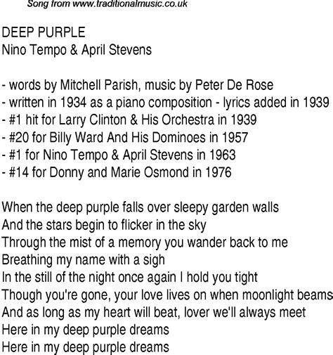 purple best songs top songs 1939 charts lyrics for purple