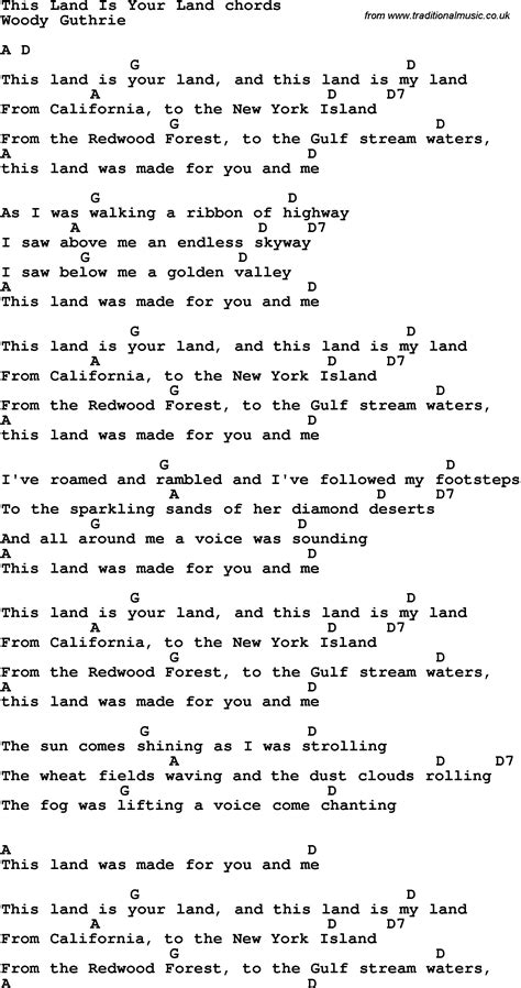 printable lyrics this land is your land song lyrics with guitar chords for this land is your land