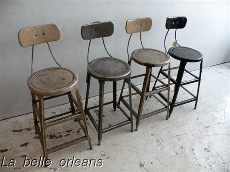 Vintage Metal Stool With Back by Set Of Four Metal Vintage Industrial Machinist Stools For