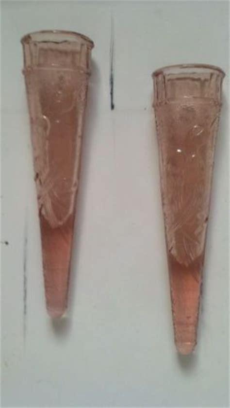 Wall Bud Vase by Vintage Set Of 2 Pink Glass Car Bud Vase Wall Pocket W